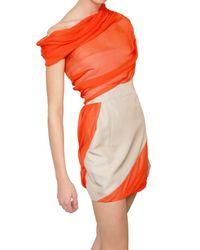 Giambattista Valli | Orange Silk Shantung and Chiffon Dress | Lyst
