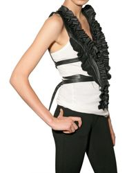 Givenchy | Black Ruffle Leather Plastron Vest | Lyst