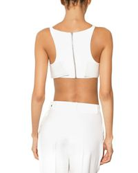 Hakaan - White Cropped Leather Tank Top - Lyst