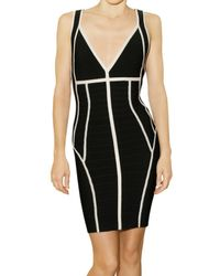 Hervé Léger | Black Bandage Dress With Contrasting Trim | Lyst