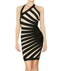 Hervé Léger | Black Engineered Diagonal Banding Dress | Lyst