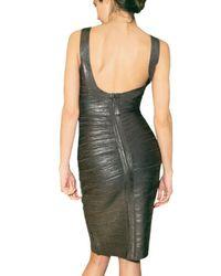 Hervé Léger | Metallic All Over Foil Spandex Dress | Lyst