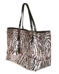 Jimmy Choo   Black Leopard Print Glazed Canvas Scarlet Small Tote Bag   Lyst