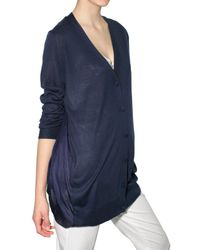 JOSEPH | Blue Knit and Chiffon Cardigan Sweater | Lyst