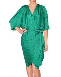 Lanvin | Green Satin-jersey Wrap-front Dress | Lyst