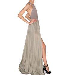 Lanvin | Gray Pleated Silk Maxi Skirt | Lyst
