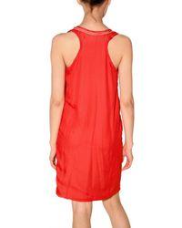 Lanvin | Orange Chiffon On Jersey Tank Dress | Lyst
