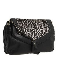 Nanette Lepore - Black Contrast Flap Hair Calf Messenger - Lyst
