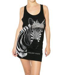 Philipp Plein | Black Crystal Zebra Jersey Tank Dress | Lyst