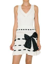 RED Valentino | White Cotton and Taffeta Knit Dress | Lyst
