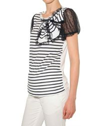 RED Valentino | Black Lace Sleeve Striped Jersey T-shirt | Lyst