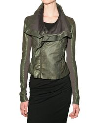 Rick Owens | Green Leather Jacket | Lyst