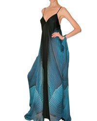 Roberto Cavalli - Blue Long Printed Chiffon Dress - Lyst