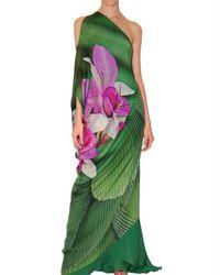 Roberto Cavalli | Green Long Orchid Print Chiffon Dress | Lyst