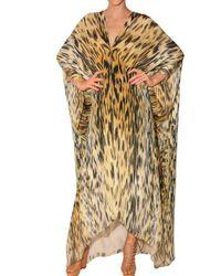Roberto Cavalli | Multicolor Leopard Print Chiffon Kaftan Dress | Lyst