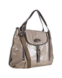 Tod's | Brown Taupe Coated Canvas G-bag Script Patta Flap Tote | Lyst