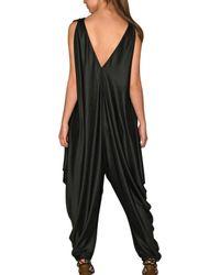 Saint Laurent - Black Fluid Shiny Silk Jersey Jumpsuit - Lyst