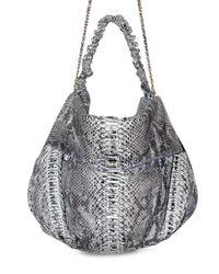 Zagliani | Black Paint Python Ninette Large Shoulder Bag | Lyst