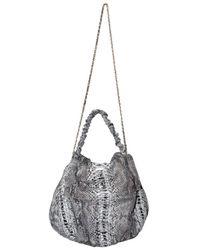 Zagliani - Black Paint Python Ninette Large Shoulder Bag - Lyst