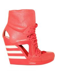 Y-3 | Red 120mm Cut Out Three Stripe Wedges | Lyst