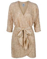 Halston | Natural Beaded Lace Kimono Dress | Lyst