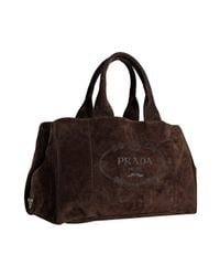 Prada | Brown Mahogany Rope Logo Suede Medium Tote | Lyst