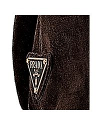 Prada - Brown Mahogany Rope Logo Suede Medium Tote - Lyst
