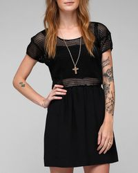 Viva Vena | Black Harmonic Short Sleeve Mesh Top Dress | Lyst
