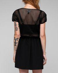 Viva Vena | Black Harmonic Short Sleeve Mesh Top Dress | Lyst