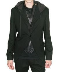 Ann Demeulemeester | Black Hooded Jersey Jacket for Men | Lyst