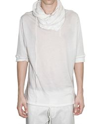 Ann Demeulemeester | White Hooded Long Sleeves Jersey T-shirt for Men | Lyst