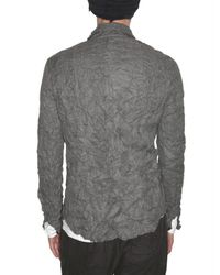 Attachment | Gray Wrinkled Linen Blend Canvas Shirt for Men | Lyst