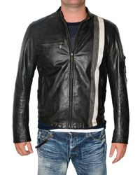 Belstaff | Black Front Stripe Racing Vent Leather Jacket for Men | Lyst