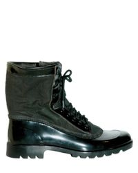 Burberry Prorsum - Black Rubber Canvas Military Lace-up Boots for Men - Lyst