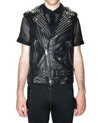 Burberry Prorsum - Black Studded Leather Waistcoat for Men - Lyst
