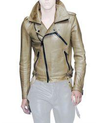 Burberry Prorsum - Green Bonded Nappa Biker Leather Jacket for Men - Lyst