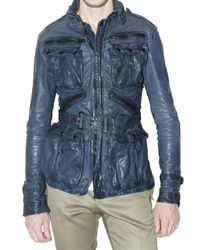 Burberry Prorsum | Blue Washed Buffalo Patch Pocket Biker Leathe for Men | Lyst