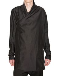 Damir Doma | Black Satin Cotton Wrap Front Shirt for Men | Lyst