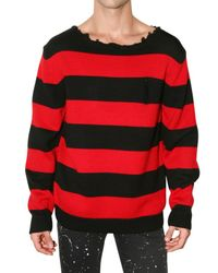 Dead Meat | Red Cobain Distressed Collar Wool Sweater for Men | Lyst