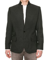 Dolce & Gabbana | Gray Melton Raw Cut Collar Jacket for Men | Lyst