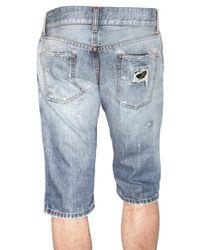 Dolce & Gabbana - Blue Destroyed Rammended Denim Shorts for Men - Lyst