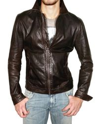Dolce & Gabbana | Brown Washed Light Nappa Leather Jacket for Men | Lyst