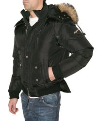 DSquared²   Black Fur Hooded Quilted Sport Jacket for Men   Lyst