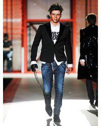 DSquared² - Black Sequin Lapel Blazer for Men - Lyst