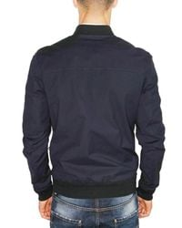 DSquared² - Blue Stretch Cotton Canvas Bomber Jacket for Men - Lyst