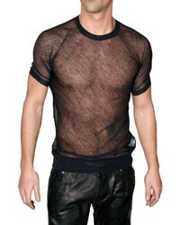 DSquared² | Black Transparent Alpaca and Silk T-shirt for Men | Lyst