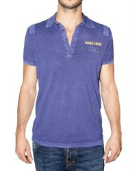 DSquared² | Blue Dsquared Stone Washed Cotton Polo for Men | Lyst