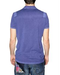 DSquared² - Blue Dsquared Stone Washed Cotton Polo for Men - Lyst