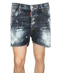 DSquared² - Blue Painted Denim Shorts for Men - Lyst
