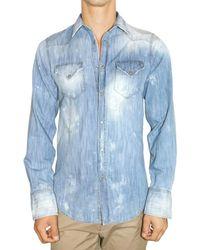 DSquared² | Blue Washed Light Denim Slim Shirt for Men | Lyst